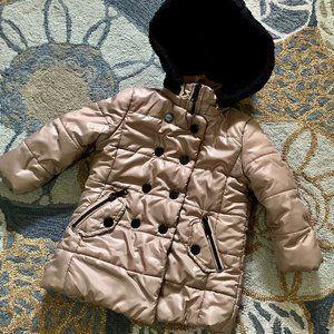 Puffer Coat w/ Hood Kids Size 24 Months Tan